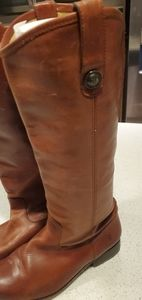 FRYE Melissa Brown Leather Knee High Riding Boots